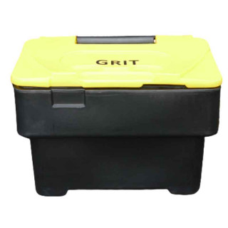 Black 3.5 Cu Ft Grit Bin with Yellow Lid - 115 Litre / 130 kg Capacity
