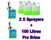 2x Matabi Supergreen 16 Litre Sprayers with 100 Litres ProBrine Liquid De-Icer
