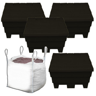 4x 6 Cu Ft Recycled Black Grit Bins with 1 Tonne of Brown Salt